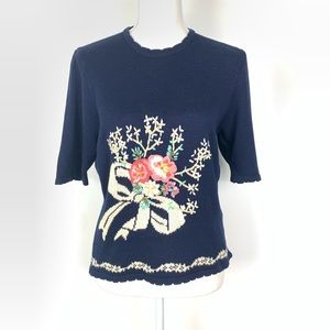 Vintage Hand Embroidered Floral Sweater Navy Pink